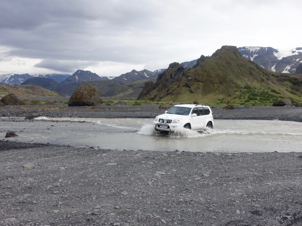 Adventurous driving through glacier rivers in Thorsmörk. 15.06.2016
