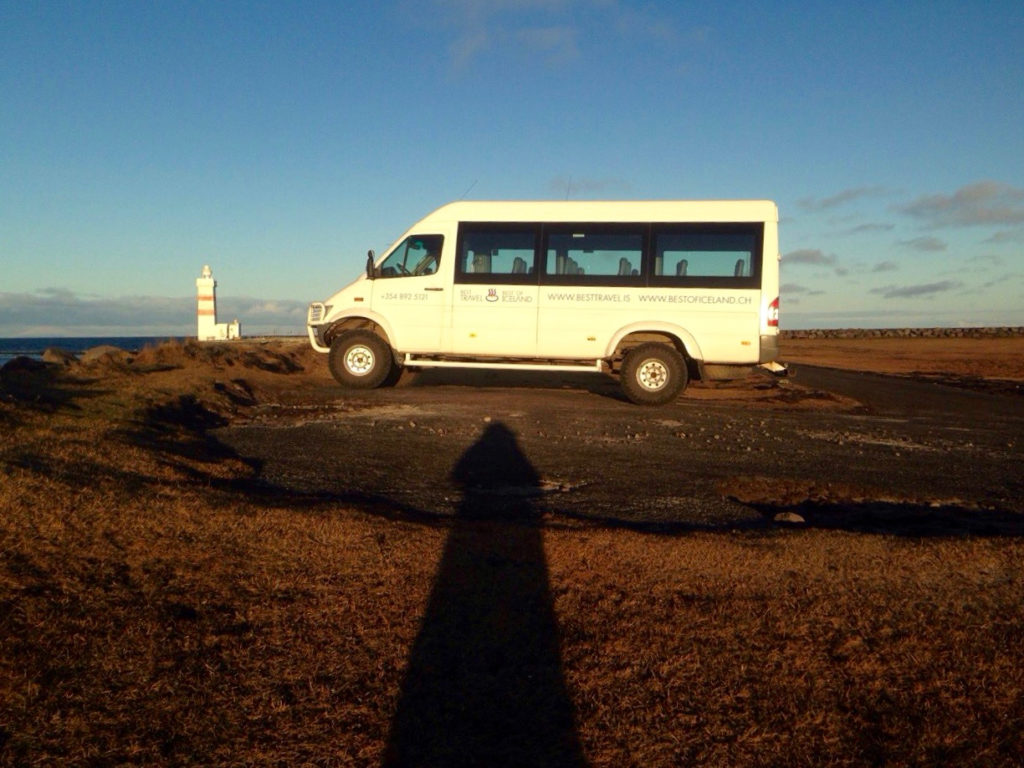 Best Travel Mantra pictured at Gardskagi lighthouse producing a lighthouse shadow. Eggert 21.11.2016