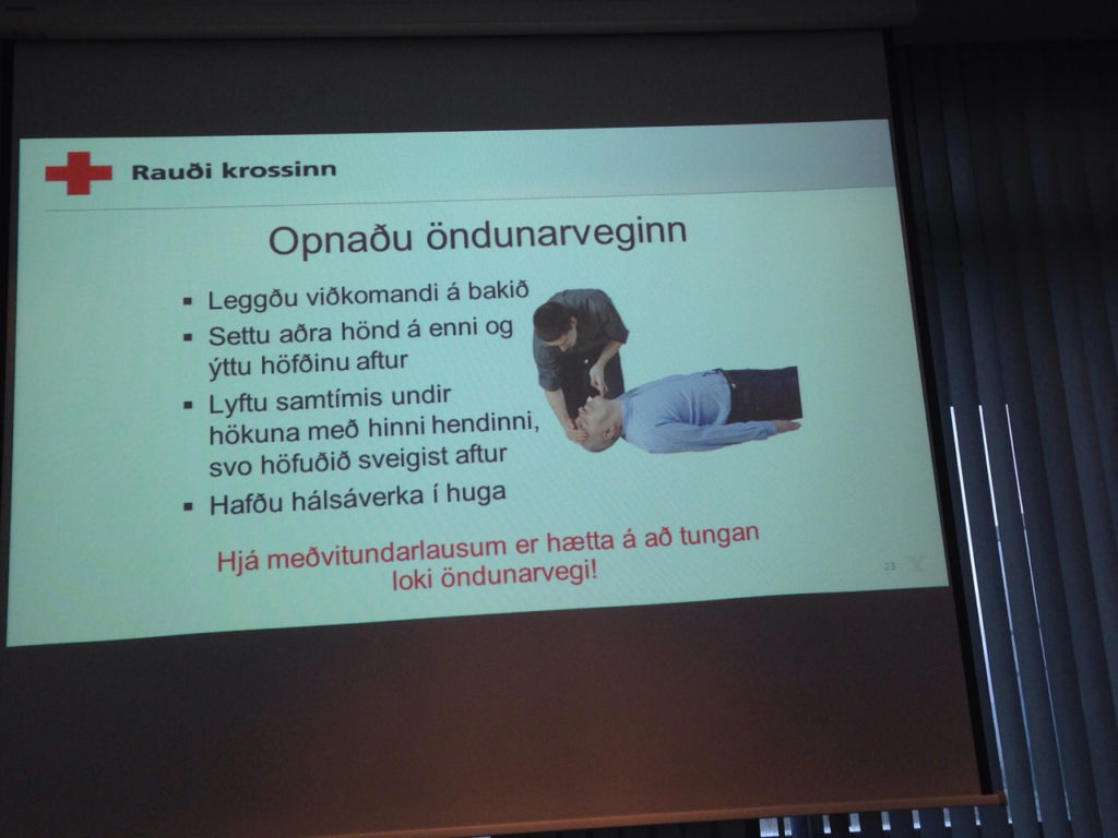 Drivers get informations about first-aid in Keflavik. 23.11.2016